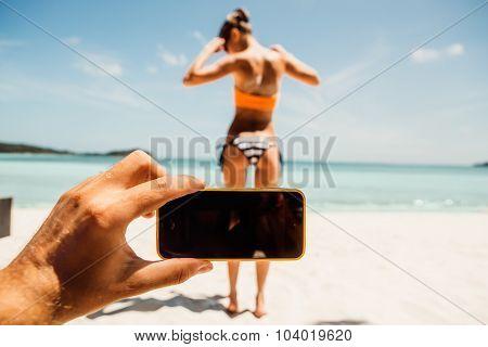 Sporty Beautiful Young Woman In Sexy Bikini On A Tropical Beach At Seacoast