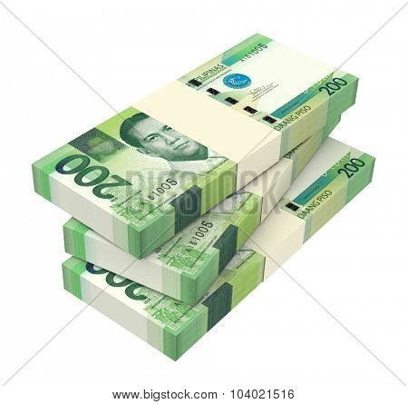 Philippines money isolated on white background. Computer generated 3D photo rendering.