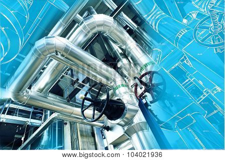 computer cad design of pipelines for modern industrial power plant poster