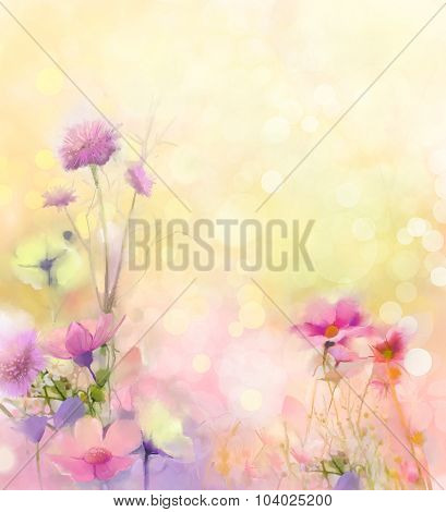 Oil Painting Nature Grass-pink Cosmos Flower