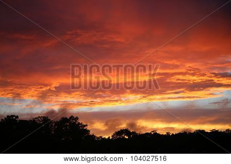 orange and pink clouds at sunset