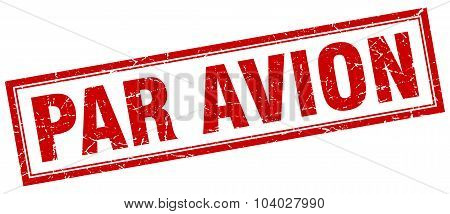 Par Avion Red Square Grunge Stamp On White