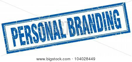 Personal Branding Blue Square Grunge Stamp On White