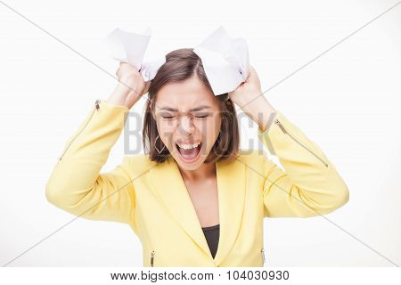 picture of a business woman in stress