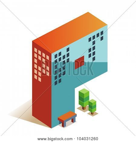 Papa latin alphabet letter in skyscraper shape