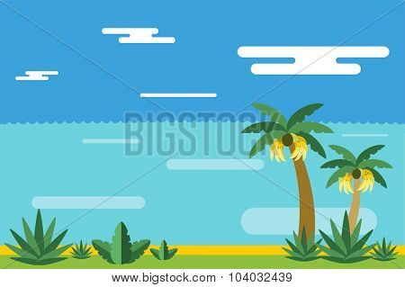 Beautiful colorful summer seascape illustration. Pulm and sea beach. Winter vcation time. Grass, pulm tree, sand, sky, bananas, green eco landscape background. Summer view, palms and bananas. Exotic