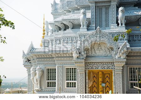 A fragment of a white stupa in Cambodia