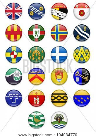 Uk Counties Button Flag Collection  poster