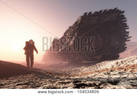 Astronaut near the spacecraft on the planet. poster