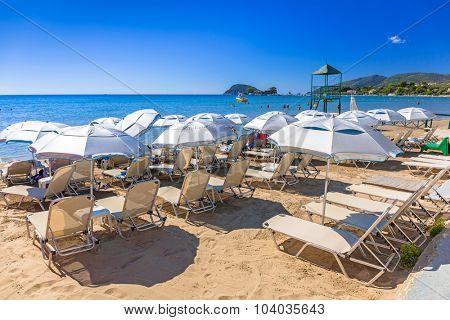 LAGANAS, GREECE - AUG 21, 2015: People on the beach of Laganas on Zakynthos island, Greece.