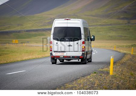 Mercedes Sprinter Van on the road