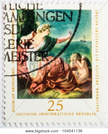 Gdr - Circa 1970: A Stamp Printed In Gdr Shows A The Abandoned Ariadne By Angelika Kauffmann, Circa