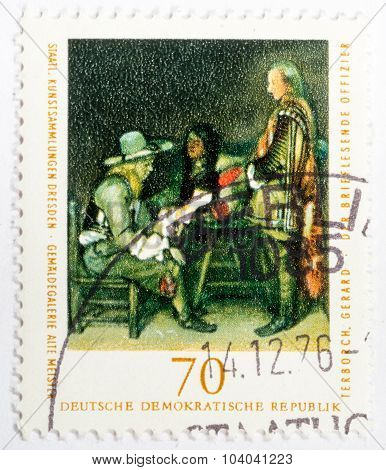 Gdr - Circa 1976: A Stamp Printed In Gdr (east Germany) Shows Image Of Artist Gerard Terborch