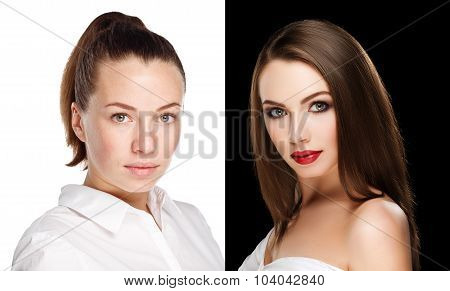 comparison portraits beautiful girl with and without makeup before and after. left clean face no makeup and right makeup and retouch poster