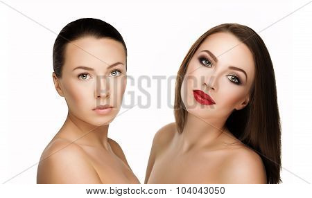 comparison portraits beautiful girl with and without makeup before and after. left clean face nude makeup and right makeup and retouch poster