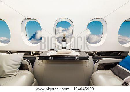 Luxury interior aircraft business aviation
