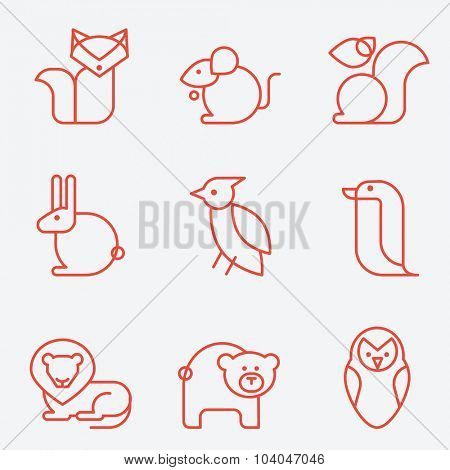 Animal icons, thin line style, flat design