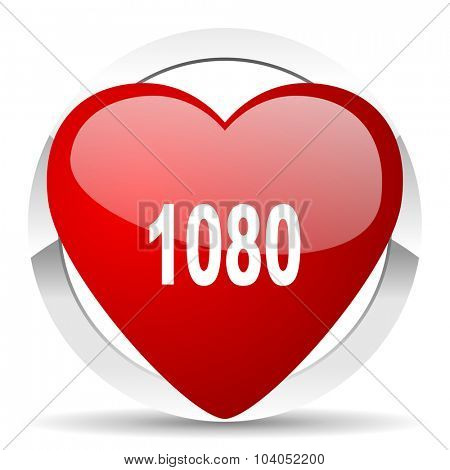 1080 red red heart valentine icon on white background
