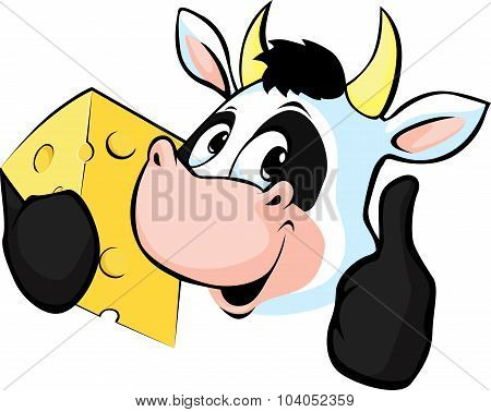 Cow Hold Cheese - Vector Illustration