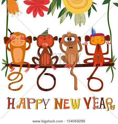 Vector 2016 Concept New Year Background Of Three Wise Monkeys +1, A Symbol Of New Year 2016.  2016 M