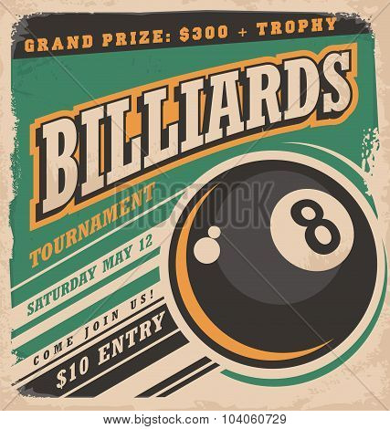 Retro poster design for billiards tournament. Vintage ad concept with eight ball game. Sport and leisure theme on old paper texture. No gradients or effects, just fill colors. poster
