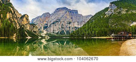 Braies Lake in Dolomites mountains, Seekofel in background, Sudtirol,Italy