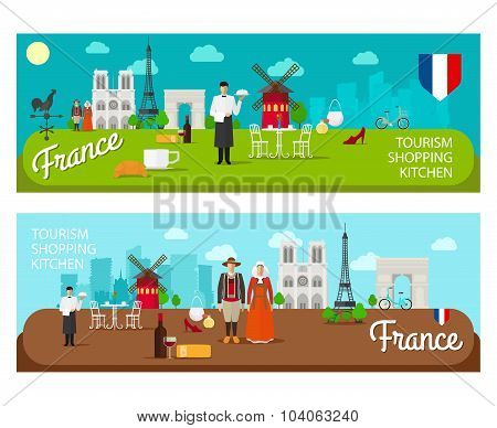 Banners with landmarks of France
