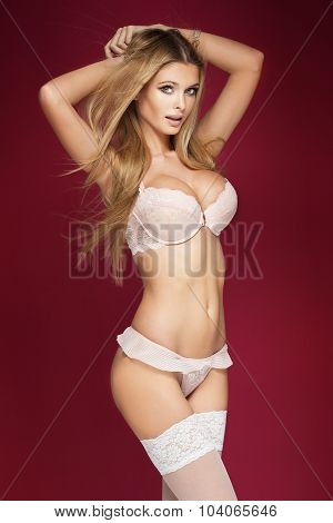 Sexy Blonde Woman Posing In Lingerie.