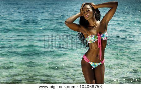 Sexy Woman In Swimwear. Summer Day.