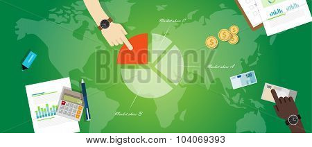 market share product pie chart business graph profit economy vector poster