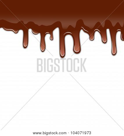 Melted chocolate syrupy drips isolated on white background, swee