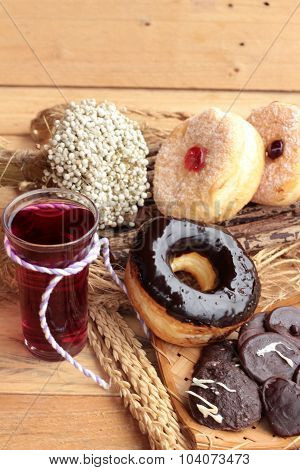 Chocolate Donut And Strawberry Jam Donut Of Delicious poster