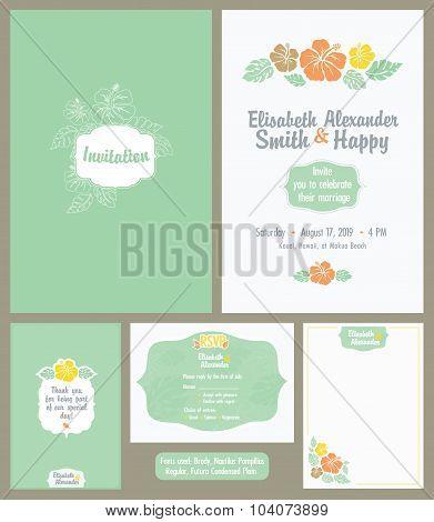 Vector Hawaiian Wedding Invitation Set. Light Green. Elisabeth Alexander
