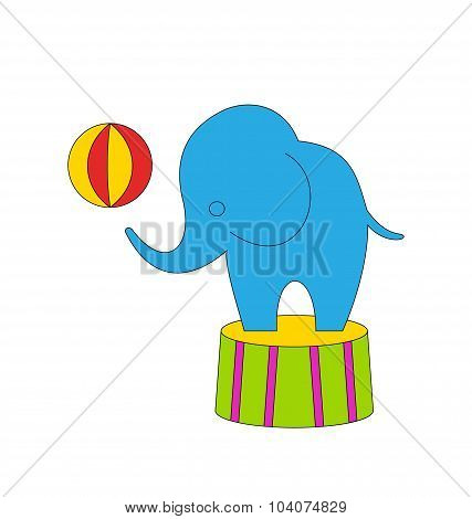 Dexterous Circus Cartoon Elephant on Podium with Ball