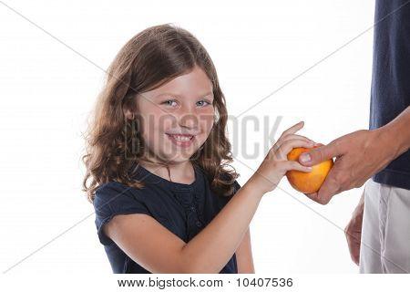 Girl Snacks On Apple