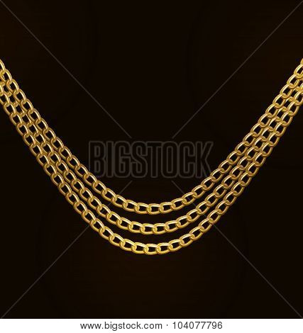 Beautiful Golden Chains Isolated on Black Background