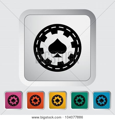 Gambling chips. Single flat icon on the button. Vector illustration. poster