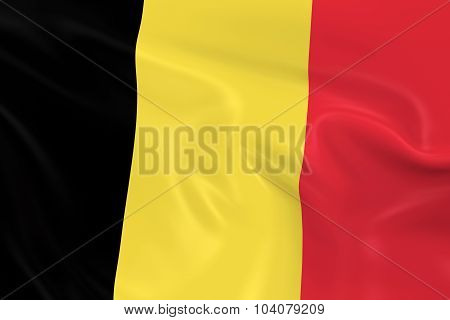 Waving Flag Of Belgium - 3D Render Of The Belgian Flag With Silky Texture