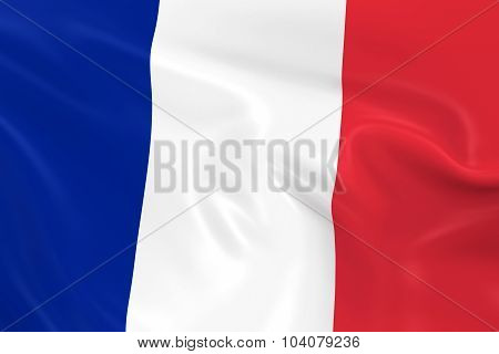 Waving Flag Of France - 3D Render Of The French Flag With Silky Texture