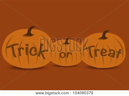Trick or treat halloween text with pumpkins