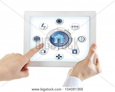 Smart energy controller or remote home control online on tablet-pc, isolated on white