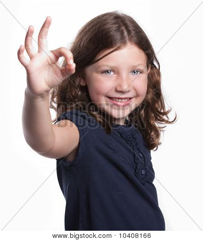 Little Girl Gives O.k. Sign