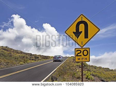 Mountain Road With Traffic Signs