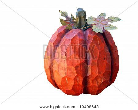 Wooden Carved Pumpkin on White Background