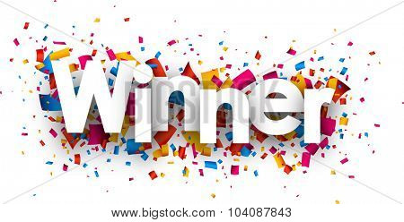 Winner sign with colour confetti. Vector paper illustration.
