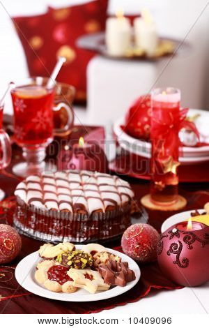 Christmas Cookies With Marchpane Cake And  Wine Punch