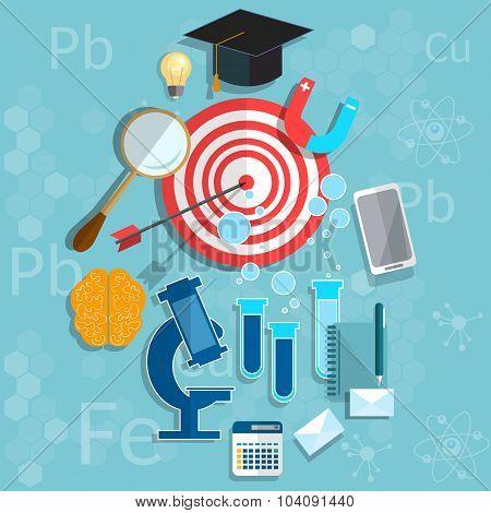 Education graduation concept biology physics chemistry classroom university college vector illustration poster
