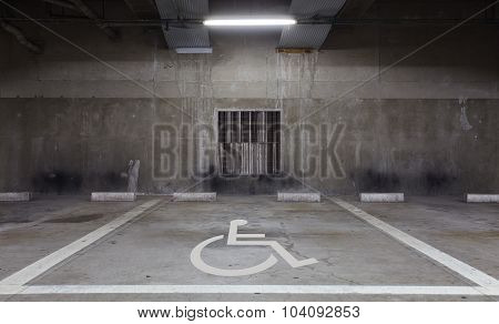 Handicap parking area reserved for disabled people