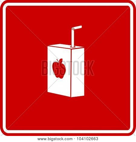 apple juice box with drinking straw sign