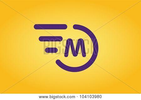 Fast line vector circle logo. M rings monogram. Vector M circle. Circle O and M letter design. Abstract M letter logo. Round rings. Ring circle symbol. Thin line circle logo. Transport car circle logo
